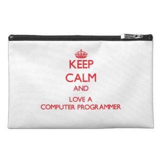Keep Calm and Love a Computer Programmer Travel Accessory Bags