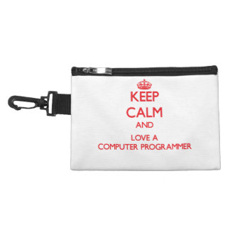 Keep Calm and Love a Computer Programmer Accessory Bags