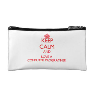 Keep Calm and Love a Computer Programmer Cosmetics Bags