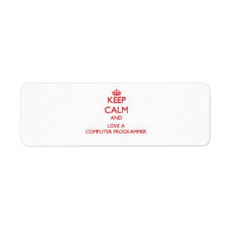 Keep Calm and Love a Computer Programmer Custom Return Address Labels