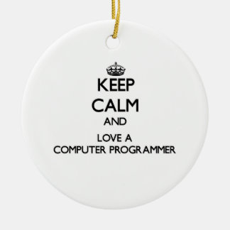 Keep Calm and Love a Computer Programmer Christmas Ornament