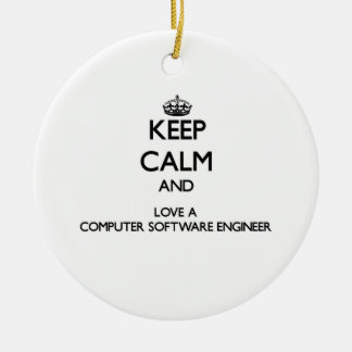 Keep Calm and Love a Computer Software Engineer Christmas Tree Ornament