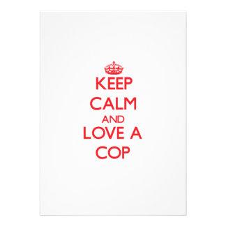 Keep Calm and Love a Cop Custom Invitations