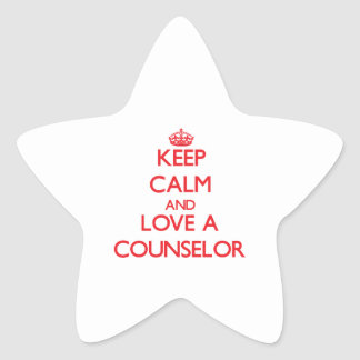 Keep Calm and Love a Counselor Star Stickers