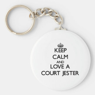 Keep Calm and Love a Court Jester Basic Round Button Keychain
