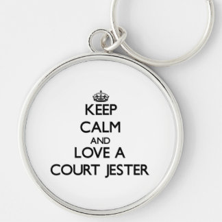 Keep Calm and Love a Court Jester Silver-Colored Round Keychain