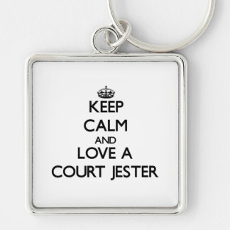 Keep Calm and Love a Court Jester Silver-Colored Square Keychain