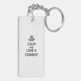 Keep Calm and Love a Cowboy Acrylic Keychains