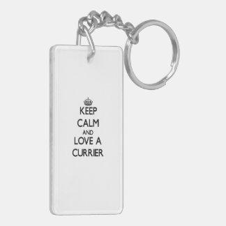 Keep Calm and Love a Currier Rectangular Acrylic Keychains