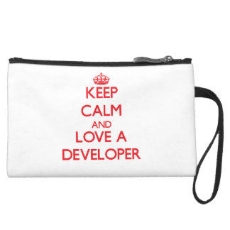 Keep Calm and Love a Developer Wristlet Purses