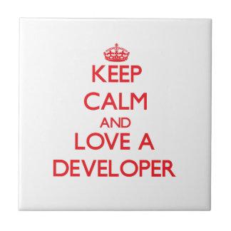 Keep Calm and Love a Developer Ceramic Tile