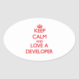 Keep Calm and Love a Developer Oval Sticker