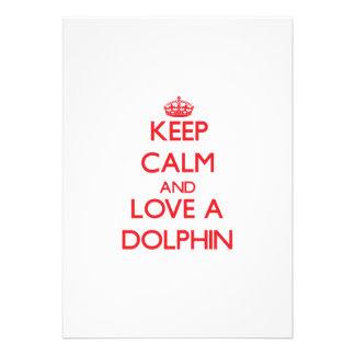 Keep calm and Love a Dolphin Custom Invitations