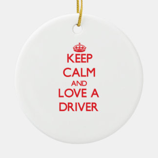 Keep Calm and Love a Driver Double-Sided Ceramic Round Christmas Ornament