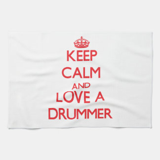 Keep Calm and Love a Drummer Kitchen Towels