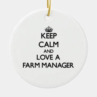 Keep Calm and Love a Farm Manager Ornaments