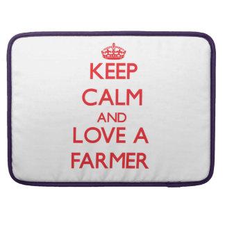 Keep Calm and Love a Farmer MacBook Pro Sleeve