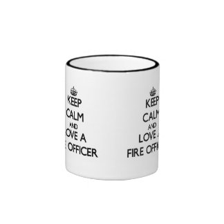 Keep Calm and Love a Fire Officer Ringer Coffee Mug