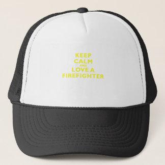 Keep Calm and Love a Firefighter Trucker Hat
