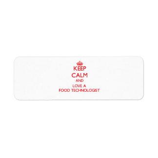 Keep Calm and Love a Food Technologist Return Address Label