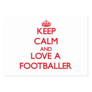 Keep Calm and Love a Footballer Large Business Cards (Pack Of 100)