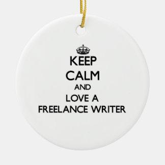 Keep Calm and Love a Freelance Writer Christmas Tree Ornament
