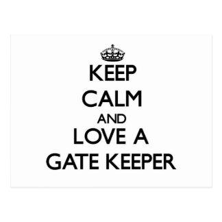 Keep Calm and Love a Gate Keeper Postcard