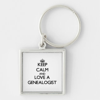 Keep Calm and Love a Genealogist Silver-Colored Square Keychain