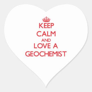 Keep Calm and Love a Geochemist Heart Sticker