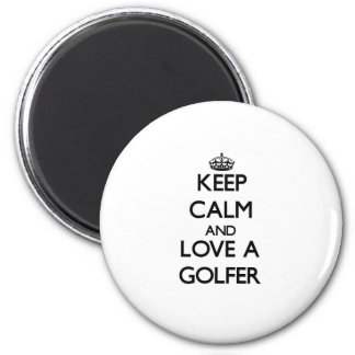 Keep Calm and Love a Golfer 2 Inch Round Magnet