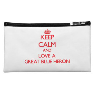 Keep calm and Love a Great Blue Heron Cosmetic Bags