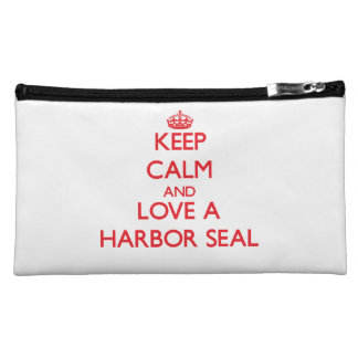 Keep calm and Love a Harbor Seal Makeup Bags