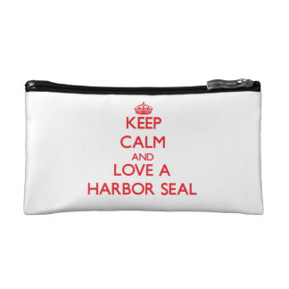 Keep calm and Love a Harbor Seal Cosmetic Bags