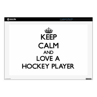 "Keep Calm and Love a Hockey Player Decals For 17"" Laptops"