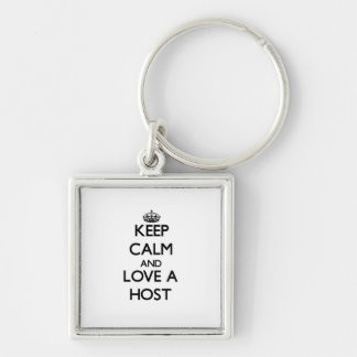 Keep Calm and Love a Host Silver-Colored Square Keychain
