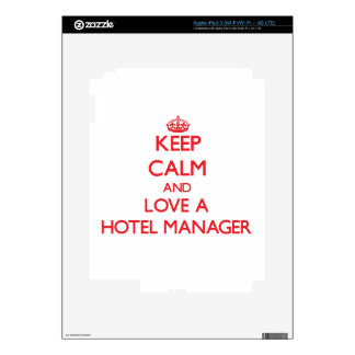 Keep Calm and Love a Hotel Manager Decal For iPad 3