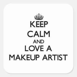 Keep Calm and Love a Makeup Artist Square Sticker