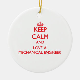 Keep Calm and Love a Mechanical Engineer Double-Sided Ceramic Round Christmas Ornament