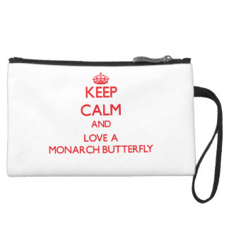 Keep calm and Love a Monarch Butterfly Wristlet Clutches