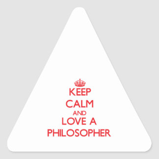 Keep Calm and Love a Philosopher Triangle Sticker