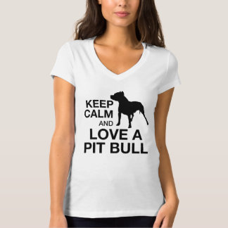 Keep Calm And Love A Pit Bull Vertical PINK T-Shirt
