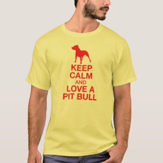 Keep Calm And Love A Pit Bull Vertical - RED T-Shirt