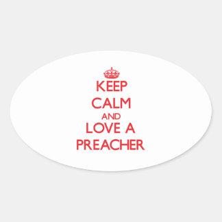 Keep Calm and Love a Preacher Oval Sticker
