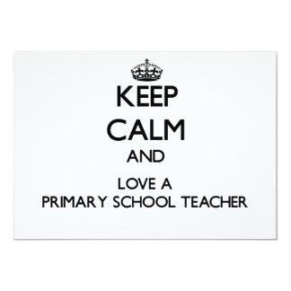 Keep Calm and Love a Primary School Teacher Custom Invites