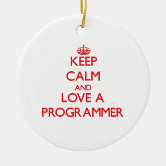 Keep Calm and Love a Programmer Christmas Tree Ornaments
