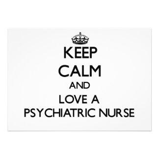 Keep Calm and Love a Psychiatric Nurse Custom Invitation