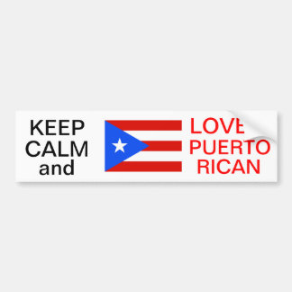KEEP CALM AND LOVE A PUERTO RICAN BUMPER STICKER