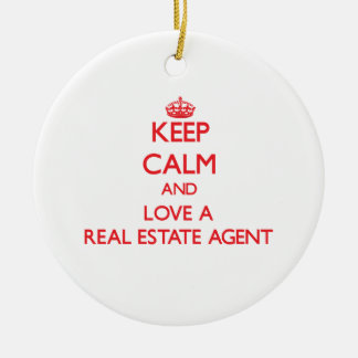 Keep Calm and Love a Real Estate Agent Double-Sided Ceramic Round Christmas Ornament