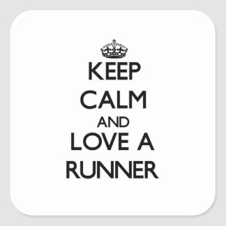 Keep Calm and Love a Runner Square Sticker