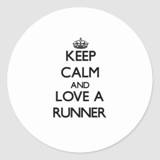 Keep Calm and Love a Runner Round Sticker